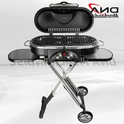 PORTABLE BBQ GRILL PROPANE MATCHLESS LIGHTING FOLDABLE CART