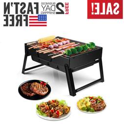 Portable Charcoal BBQ Grill Folding Barbecue Shish Kabob Sto