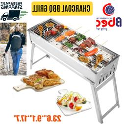 portable charcoal bbq grill stainless steel foldable