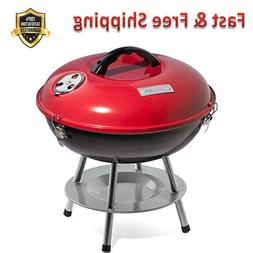 Portable Charcoal Grill 14 In. Red Durable Enamel Coated Fir