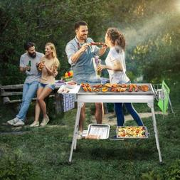 Portable Charcoal Grill Barbecue BBQ +FREE Full set of BBQ T