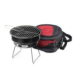 PORTABLE FOLDABLE CHARCOAL BARBEQUE MINI GRILL W/ COOLER BAG