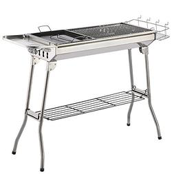 ISUMER Portable Folding Charcoal BBQ Grill - Stainless Steel