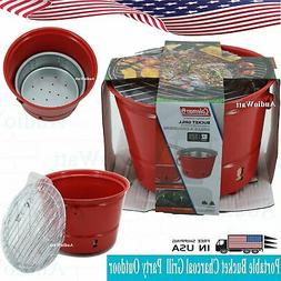 Coleman Portable Red Bucket Charcoal Grill Party Outdoor Coo