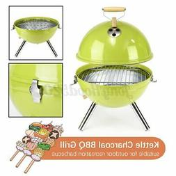 Portable Round Iron Kettle BBQ Grill Outdoor Camping Charcoa