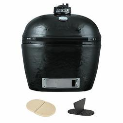 Primo 778 XL Oval Ceramic Charcoal Smoker Grill, Divider, He