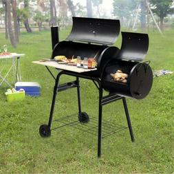 Rolling Steel Charcoal Grill Outdoor BBQ Cooker Smoker With
