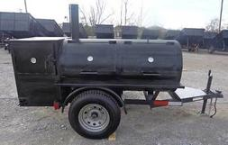"Smoker Trailer Wood 59"" x 29"" Charcoal Pit Wood Cage BBQ Coo"