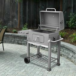 Deluxe Charcoal Grill Station Outdoor Thermometer BBQ Grate